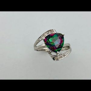 Jewelry - Natural Mystic Topaz with Natural Diamond Ring